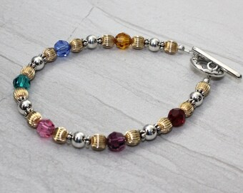 Sterling Silver and 14 kt Gold Filled Birthstone Bracelet