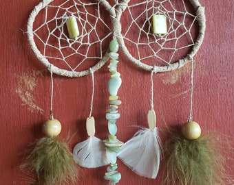 Double tan and green dreamcatcher