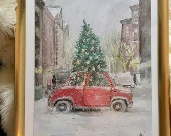 """Christmas tree on red car watercolor mixed media painting 10x14"""""""