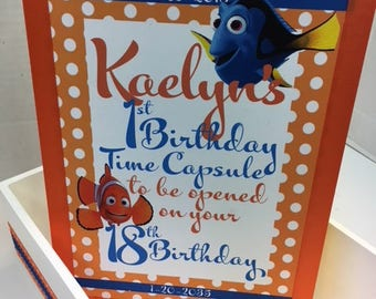 1st Birthday Dory Time Capusule Keepsake box - CUSTOM Designed for Girls and Boys
