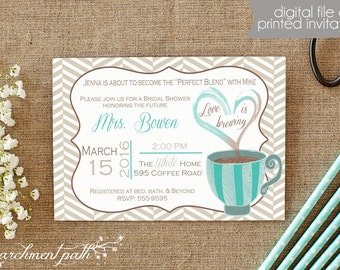 Love is Brewing Bridal Shower or Bachelorette Party Invitation - Printable - Wedding - Coffee Bridal Shower - Printed Invitations