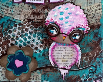 Big Eyed Art Mixed Media Owl Giclee Print Signed Reproduction The Sweetest Thing by Lizzy Love [IMG#118]