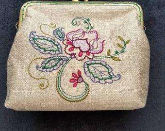 CP215.  Jacobean Floral design purse.