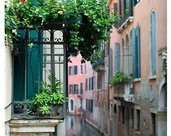 Fine Art Photography, Venice, Italy, Balcony, Pastels, Romance, Flowers, Canal, 12x12 print