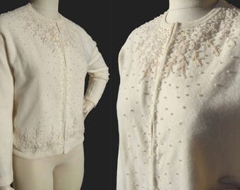 Vintage White Lambswool & Pearl Cardigan Sweater L