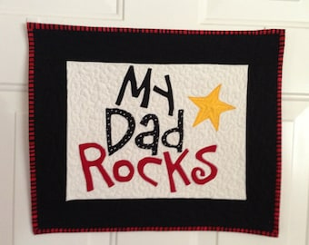 Quilted, Hand Appliqued Wall Hanging for Dad