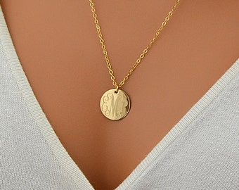 Monogram Necklace, Gold Disc Necklace, Initial Necklace, Personalized Disc Necklace, Name Necklace, Gold, Silver, Rose Gold