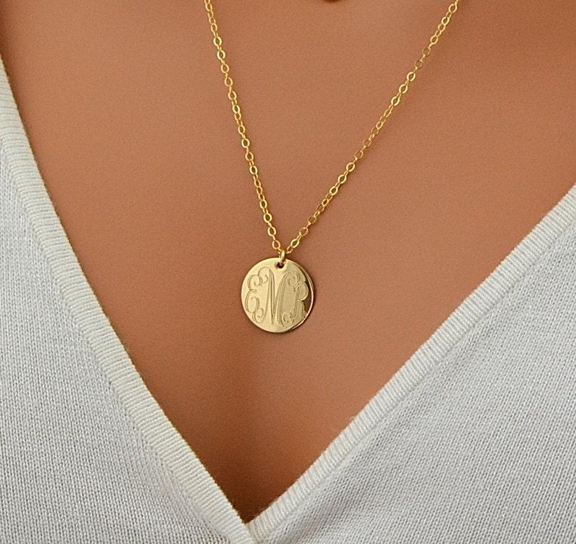 Large Disc Necklace Monogram Necklace Gold Necklace Circle