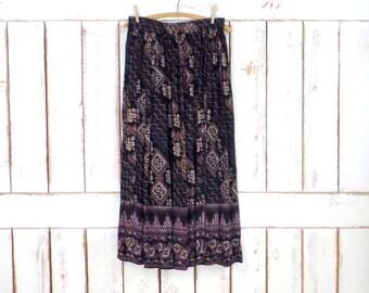 Black/tan tribal/Aztec  print boho vintage maxi skirt/long sheer gauzy Indian gypsy festival skirt