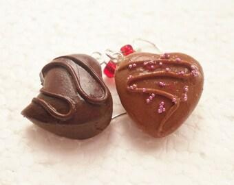 Belgian Chocolate Heart Earrings. Polymer Clay.