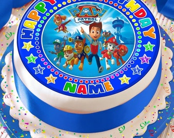paw patrol blue personalised with your age and name precut edible cake topper icing sheet decoration 7.5 inch round