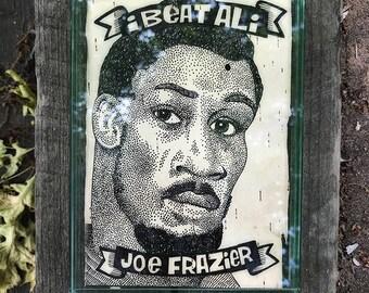 I Beat Ali: Joe Frazier.  Ink on birchbark, 5x7