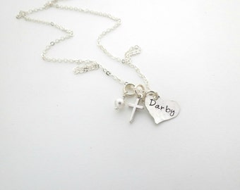 Personalized Necklace - Remembrance Baby or Loved One Loss - Miscarriage - Still Born - Mother - Cross