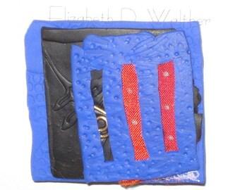 Blue Window --silk polymer clay  pin