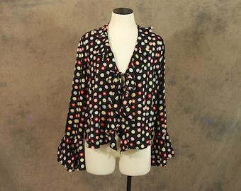 vintage 90s Blouse - 1990s Ruffled Shirt Rainbow Dots Cardigan L