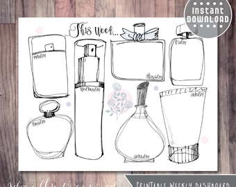 PRINTABLE WEEKLY DASHBOARD - 8.5 x 11 | Perfume Bottles | Planner Pages | Planner Refill | Weekly Journal | Week At A Glance | Bottles