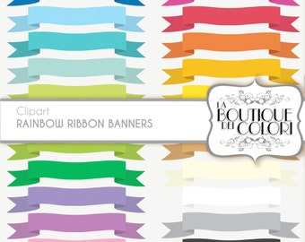 Rainbow ribbon banners  cliparts Tags Digital Clip Art.  Label frame Clipart Printable Instant Download for  Commercial Use. PNG
