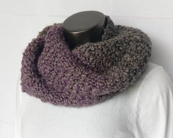 Cozy & Chunky Grey and Purple Stripe Soft Hand Knit Infinity Scarf or Cowl Ready to Ship