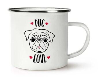 Pug Love Retro Enamel Mug Cup