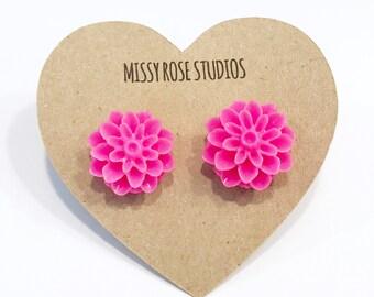 pink flower studs, hot pink earrings, mum earrings, flower earrings, floral jewelry, neon earrings, dahlia earrings, large stud earrings