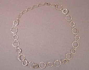 Sterling Silver Choker Necklace Hammered Silver Circles