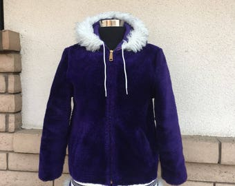 Vintage 70s Purple Faux Fur Hooded Coat Boho Jacket Girls Youth 12-14 Women XXXS
