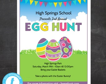 Easter Egg Hunt Flyer, School or Church or any organization , Event Custom Printable, Edit Yourself, Templett