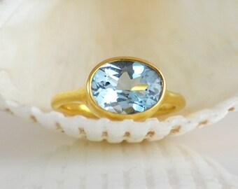 London Blue Topaz Ring, December Birthstone Ring, Gemstone Ring, Christmas gift for women Gold Ring Oval Ring, Bezel set ring size 5 6 7 8 9