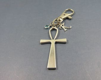Cross keychain - cross keyring - cross gift - christian baptism gift - religious gift - personalised baptism - faith memorial keychain