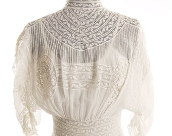 Victorian 1880/1890s Restored White Batiste Wedding Gown/ Graduation Dress. Size 4 - item 117, Wedding Apparel