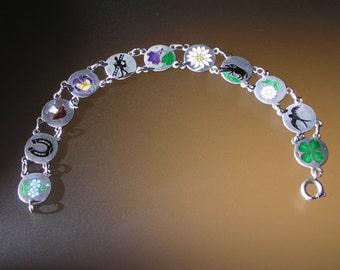 Victorian Silver(750) Enamelled Luck Bracelet