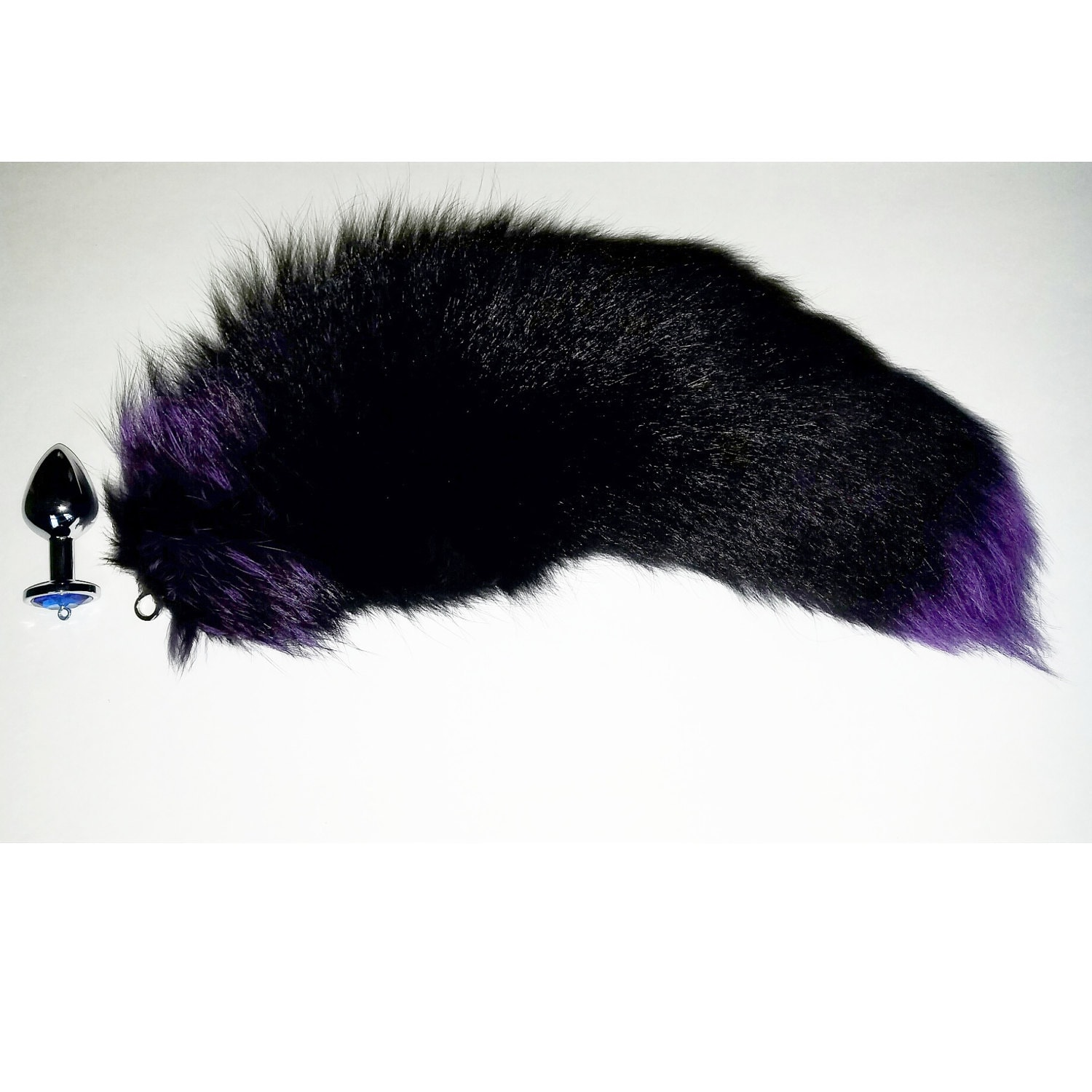 "19-18"" amazing, detachable silver dyed purple fox tail butt plug"
