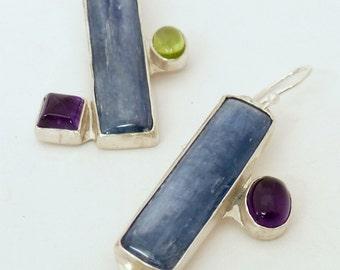 Kyanite, Amethyst, Peridot Earrings, Assymetrical, Fraternal Twins, Gemstone Earrings, Hand made, One of a Kind