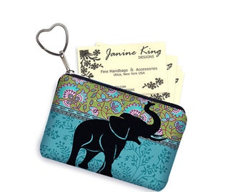 Elephant Business Card Holder Fabric Pouch Key Fob Small Zipper Bag Coin Purse Key Chain Hippie Paisley Fabric, blue green black