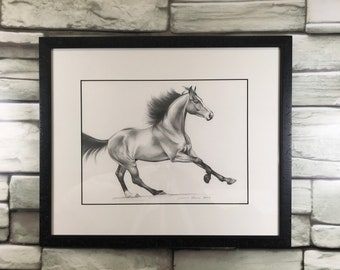 "Original Horse Art - ""Afternoon Frolic"" - Graphite Portrait - Framed"