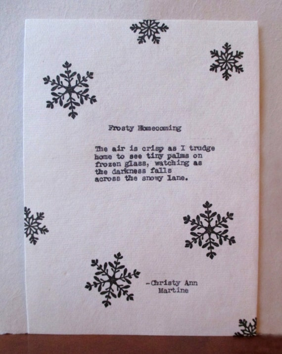 Frosty Homecoming Winter Poem Gift for Mom Sister or Aunt Hand Typed Snow Poem Canadian Writer and Poet