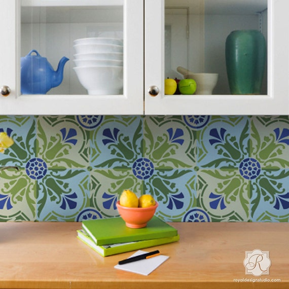 Spanische Fliese Schablone für DIY Küche Aufkantung Muster