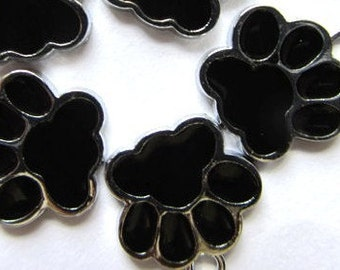 5 pcs  of black  PAW Charm Pendants