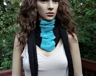 Black and Turquoise Scarf. Summer Scarf. Bandana Scarf. Knitted Women's Fashion Accessory Vegan Friendly. Gift for her