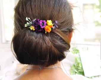 fall wedding hair comb sunflower hair clip purple bridal hair comb flower fall accessory bridal hair clip fall hair comb flower hair comb
