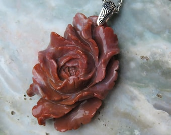 Hand Carved Red Agate Peony Healing Stone Necklace with Positive healing Energy!