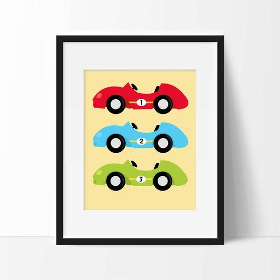 Race Cars Nursery Art Printable Race Car Nursery Decor Boy