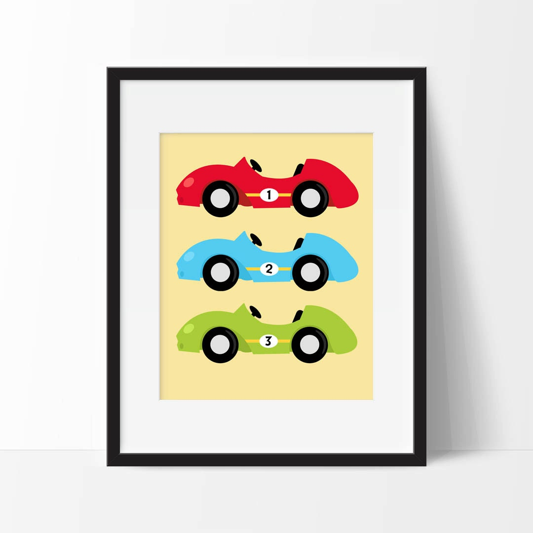 Race Cars Nursery Art Printable Race Car Nursery Decor Boy