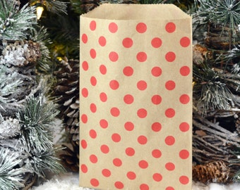 25 Medium Kraft Red Polka Dot Paper Bags, 5 x 7.5 inches