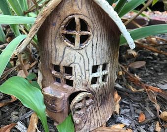Salt Fired Ceramic  Fairy House Lantern