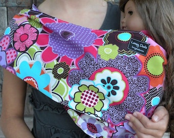 Just Like Mommy Baby Doll Sling-pretty Funky Flowers-Perfect For American Girl Dolls-Free Shipping When Purchased With a Wrap