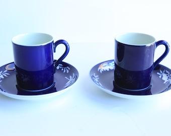 Pair Cobalt Blue Demitasse Cups w/ Saucers ~ Vintage Japanese Porcelain Espresso, Turkish Coffee, Tea Cups
