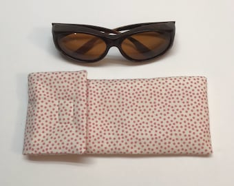 Large pink polka dot sunglass case fits sunglasses that you wear OVER regular glasses, pink polka dot fabric storage pouch