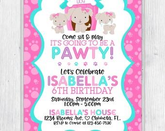 Puppy Pawty Birthday Invitation