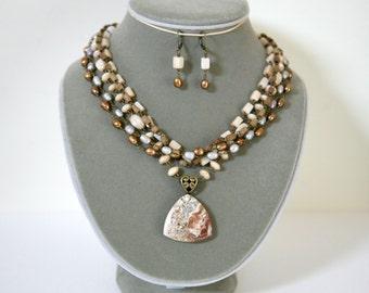 Chocolate Mocha, Caramel, Light Gray and Cream Multi Strand Gemstone Pendant Necklace With Matching Earrings